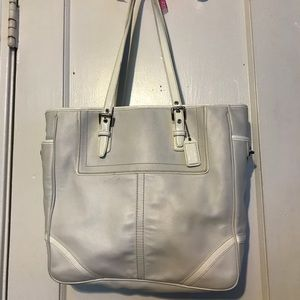 Authentic white large Coach tote